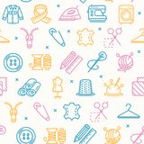 Sewing and Needlework Tool Pattern Background on a White.  Stock Images
