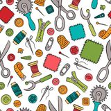 Sewing and needlework. Tools and accessories. Seamless pattern in doodle and cartoon style. Colorful. Linear. Vector. EPS 8 Stock Images