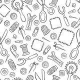 Sewing and needlework. Tools and accessories. Seamless pattern in doodle and cartoon style. Linear. Vector. EPS 8 Stock Photos