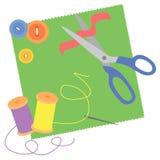 Sewing needlework. Vector illustration of sewing needlework Royalty Free Stock Photo