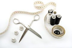 Sewing objects. On white background Stock Image