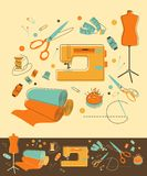 Sewing objects. Set of objects for sewing in retro-style Royalty Free Stock Photography