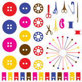 Sewing objects silhouettes set. Royalty Free Stock Photo