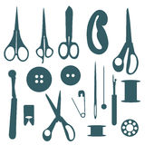 Sewing objects silhouettes set. Royalty Free Stock Images