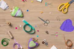 Sewing objects wallpaper royalty free stock image