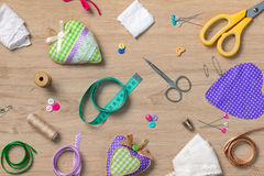 Sewing objects wallpaper royalty free stock photo
