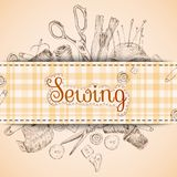 Sewing paper card Royalty Free Stock Images