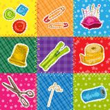 Sewing patchworks set Royalty Free Stock Photo