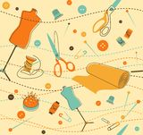 Sewing pattern. Seamless pattern with objects for sewing in retro-style Royalty Free Stock Photo