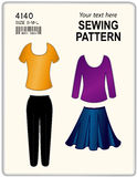 Sewing Pattern, Tank Tops, Pants And Skirt Royalty Free Stock Photos