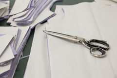 Sewing patterns and scissors Royalty Free Stock Images