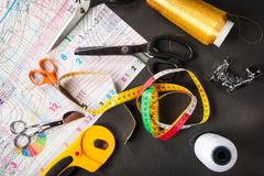 Sewing Patterns With Sewing Tools Stock Photos