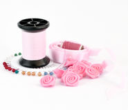 Sewing pink accessories Royalty Free Stock Photography
