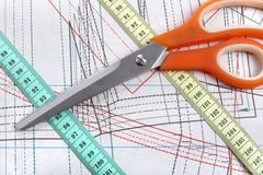 Sewing plan. Sewing tools on template plan Stock Photo