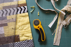 Sewing process in fabric cutting stage Stock Photos