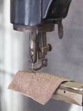 Sewing process of leather - Selective focus Stock Images