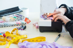Sewing process on a manufacture Royalty Free Stock Photos