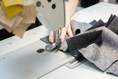 Sewing process on a manufacture Royalty Free Stock Image