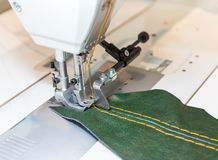 Sewing process in the phase of overstitching Royalty Free Stock Photos