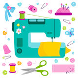 Sewing project tools and equipment. Sewing tools equipment and tailor needlework accessories icon vector illustration Royalty Free Stock Photography