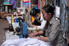 Sewing at Psar Leu Royalty Free Stock Image