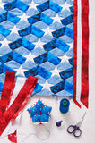 Sewing of quilt with stylized elements of American flag Royalty Free Stock Photos
