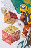 For sewing quilts. The cut pieces of fabric for sewing quilts Stock Photo