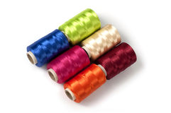Sewing rayon threads Stock Photo