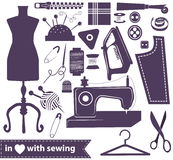 Sewing related elements over white Royalty Free Stock Photo