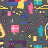 Sewing related elements, Seamless color pattern Stock Photography