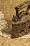 Sewing ribbons  iron, stylized image Stock Images