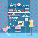Sewing room concept design poster Royalty Free Stock Image