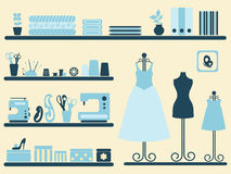 Sewing room interior and objects set. vector illustration