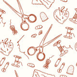 Sewing seamless doodle pattern Royalty Free Stock Image
