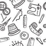 Sewing seamless pattern - hand drawn illustration Stock Image