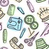 Sewing  seamless pattern - hand drawn illustration Stock Image