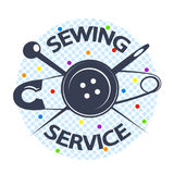 Sewing service with a needle and a button. Symbol vector Stock Photo