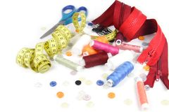 Sewing Set. Of threads, zippers, buttons, ruler, scissors Stock Image