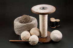 Sewing Set. Vintage Sewing Set with Floss Rolls and Knitting Hook Royalty Free Stock Photo
