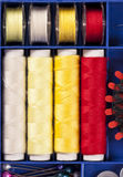 Sewing set. A sweing set with diferent colors of fine thread Royalty Free Stock Image
