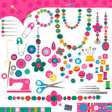 Sewing set. Sewing craft set, colorful elements vector illustration