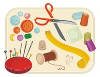 Sewing Set. With various tools and accessories Stock Photo