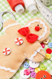 Sewing Set And Handmade Gingerbread Man From Textile Royalty Free Stock Photos