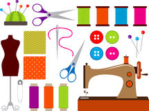 Sewing set. Colorful sewing clip art set