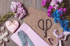 Set for needlework pastel colors royalty free stock image