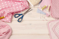 Sewing set: fabrics and threads Stock Images