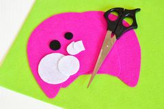 Sewing set for felt monster - how to make a monster handmade toy. Quick sewing crafts for kids. Step. Felt craft projects. DIY ideas made with felt. Cool crafts royalty free stock photos