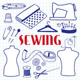 Sewing set. Hand-drawn cartoon tools. Doodle drawing. vector illustration