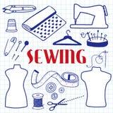Sewing set. Hand-drawn cartoon tools. Doodle drawing. Stock Photo