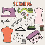 Sewing set. Hand-drawn cartoon tools. Doodle drawing. Stock Photography